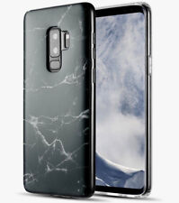 Samsung Galaxy S9+ Plus - Hard TPU Gummy Rubber Case Cover Black Marble Pattern