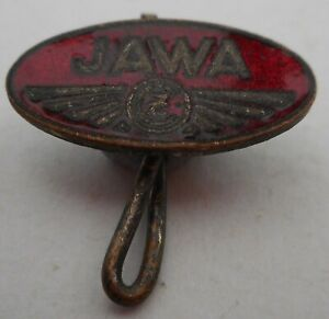 Vintage JAWA motorcycle badge, bent pin