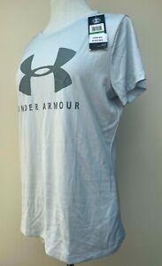 "Ladies Genuine Under Armour Tee Shirt Top Gym Loose Heatgear Grey Large 40"" New*"