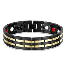 8.5 INCHES YELLOW & BLACK 18K GOLD PLATED STAINLESS STEEL MENS BRACELET