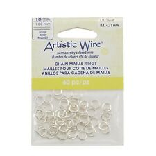 Silver Artistic Wire Chain Maille Rings 18 Gauge 4.37mm Pack of 60 (G52/14)