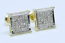 10K Yellow Gold Diamond Studs Concave Kite Pave Mens Ladies Earrings 0.25 Ct