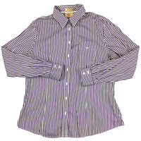 RM Williams Women's Long Sleeve Purple and White Striped Shirt Size 14 Semi Fit