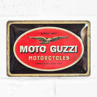 Moto Guzzi Sign 30cm Retro Metal Vintage Motorbike Logo Tin Wall Art Plaque Gift