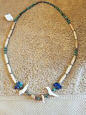 Sterling & Turquoise Fetish Necklace, 2 Bear, 2 Bird, 2 Turtle Beads