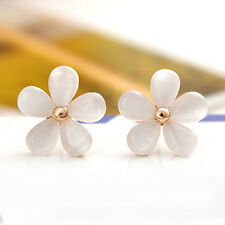 Fashion Cute Cat's Eye Stone Women Korean Flower Ear Stud Earrings Gift