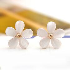 Fashion Cute Cat's Eye Stone Women Korean Flower Ear Stud Earrings Gift