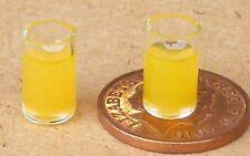 1:12 Scale 2 Glasses Of Orange Juice Dolls House Miniature Drink Shop Accessory