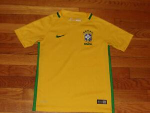 NIKE DRI-FIT BRASIL SHORT SLEEVE SOCCER JERSEY BOYS SMALL 8 EXCELLENT CONDITION