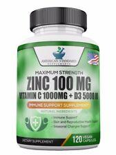 Zinc 100mg, Vitamin C 1000mg, Vitamin D 5000IU per Serving, Immune Support, 120