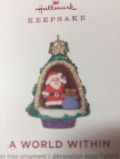 Hallmark Miniature Christmas Tree Ornament 2019 A World Within Santa Gift Box