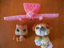 Littlest Pet Shop Retired Pet Pair #46 and #47 Bulldog and Kitten with seesaw