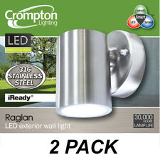 2 x 316 Stainless Steel LED Outdoor Exterior Fixed Wall Lights 240V 3W Warm Whit