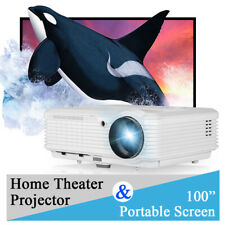 CAIWEI 6000LMS LED Home Theater Projector Movie HD 1080P Night HDMI+100'' Screen