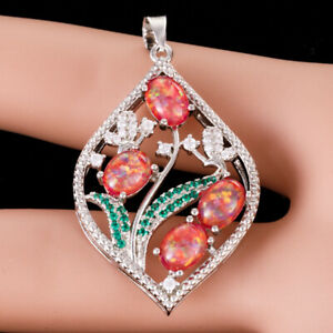 Ruby Red Fire Opal Hollow Plant Green CZ Silver Jewelry Pendant for Necklace