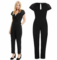 New Ex M&S black studded sleeve v neck jumpsuit size 6-22 petite regular tall