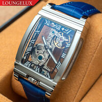 Mens Silver Bridge Manual Mechanical Watch - Blue Leather DIASTERIA 1688B