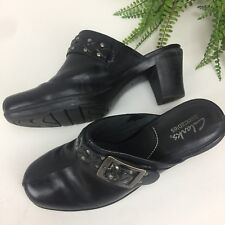 Clarks Bendables Womens 7 Artisan Black Leather Buckle shoes Clogs Style 83544