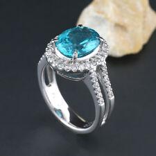 Apatit Brillant Ring Together 3,68 Carat 1 Intensive Neonblauer Apatite