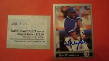 1992 Leaf Baseball Dave Winfield in Person with$75 Certificate Autograph Toronto