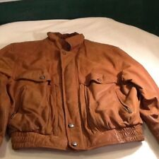 Britches Great Outdoors Brown Leather Bomber Jacket Flannel-Vtg-Mens-Size Large