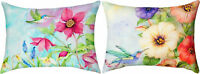 "PILLOWS - HUMMINGBIRD & FLORAL REVERSIBLE INDOOR OUTDOOR PILLOW #2 - 18"" X 13"""