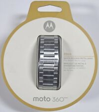 Brand New! Moto 360 - 22mm Quick Release Silver Metal Band for Mens 46mm Case