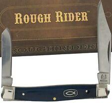 Rough Rider Iscus Blue Bone Folder Pocket Knife RR1456 2 Folding Blades