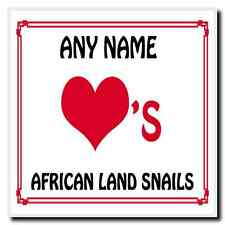 Love Heart African Land Snails Personalised Coaster