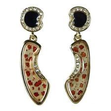Boucles d'oreilles plaqué or cristal Swarovski émail noir léopard rétro pin up