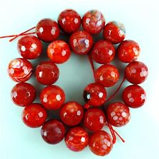 "1strand 16mm Red Faceted Fire Dragon Veins Agate Ball Loose Bead 15.5"" HBTZ23"