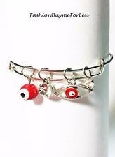 Boho Bohemian Silver Red Hamsa Evil Eye CZ Crystal Charm Lucky Bangle Bracelet