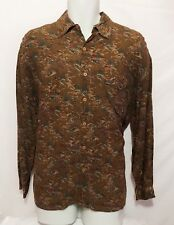 Guess By Georges Marciano Mens VTG 90's 100% Rayon Brown Button Front Shirt SZ M