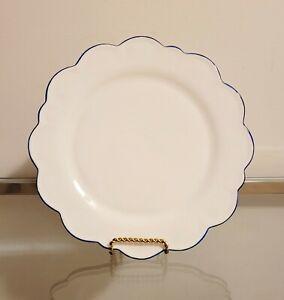 Williams Sonoma AERIN Scalloped Dinner Plate Blue Rim NEW