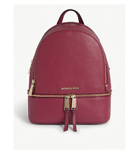 Michael Kors Rhea Medium Logo Leather Backpack Berry