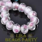 10pcs 9x12mm Flowers Crystal Faceted Rondelle Lampwork Glass Loose Beads White