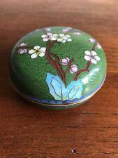 Vintage Chinese Cloisonne Green Circular Lidded Trinket Box