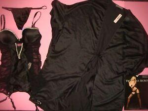 Victoria's Secret 34C,36D GARTER SLIP corset+thong+ROBE SATIN Black crystallized
