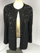 VTG 90s Adrianna Papell Evening Beaded Sequin Cocktail Jacket Black NWT NEW M