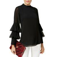 ALFANI NEW Women's Teal Textured Tiered-sleeve Blouse Shirt Top S TEDO
