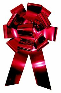 """Big Red Car Bow 25"""" Metallic Wide Magnetic Birthday Christmas Gift Giant Large"""