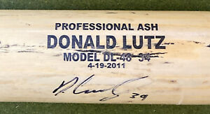 SIGNED DONALD LUTZ CINCINNATI REDS DAYTON DRAGONS GAME USED BASEBALL BAT