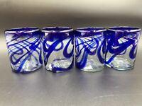 Mexican Hand Blown Art Glass Rocks Glasses Tumblers Blue Swirl Set of 4