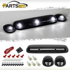 3xSmoke Cab Roof Top Clearance Lights+W5W 5050 White LED for 02-07 Chevrolet/GMC