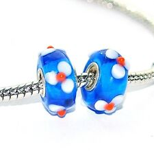 silver plated single core murano glass blue white flower charm bracelet beads