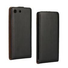 Black Genuine Leather Classic Flip Case Cover for Sony Xperia M5