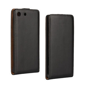 For Sony Xperia M5, Black Genuine Real Leather Vertical Slim Flip Case Cover