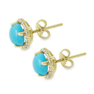 Yellow Gold Plated Turquoise Halo Stud Earrings, Stud Earrings, Gift For Her