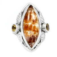 Leaves - Cacoxenite & Citrine 925 Sterling Silver Ring Jewelry s.7.5 RR196813