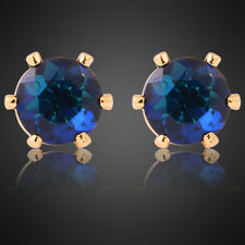 Lady Gift Blue Sapphire Yellow Gold Plated Stud Earrings Fashion Jewelry New